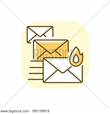 Priority Mail Yellow Rgb Color Icon. Express Mail Delivery, Fast Postal Service. Sending Important M