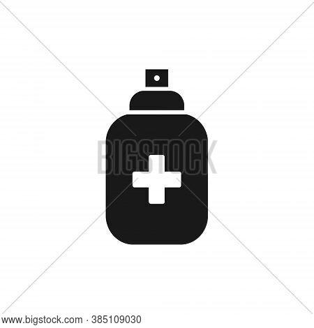 Antiseptic Spray Black Icon. Antiseptic Outline Bottle Vector Illustration Isolated On White Backgro