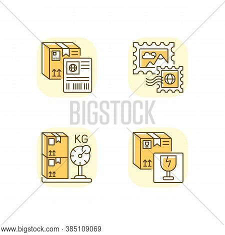 Postal Shipping Yellow Rgb Color Icons Set. Shipment Label, Postage Stamps, Cargo Weight And Fragile