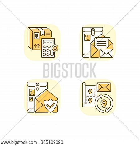 Mail Yellow Rgb Color Icons Set. Calculating Cargo Price, Cargo Insurance, Address Change And Postbo