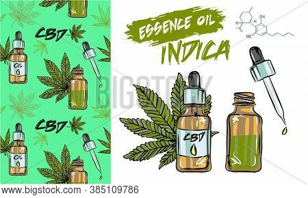 Cannabis Leaf Seamless Vector Pattern, Cannabis And Oil Essence Cbd Patterns Infographics About The