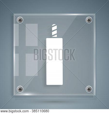White Detonate Dynamite Bomb Stick Icon Isolated On Grey Background. Time Bomb - Explosion Danger Co