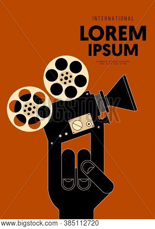 Movie And Film Poster Design Template Background With Vintage Film Camera. Graphic Design Element Ca