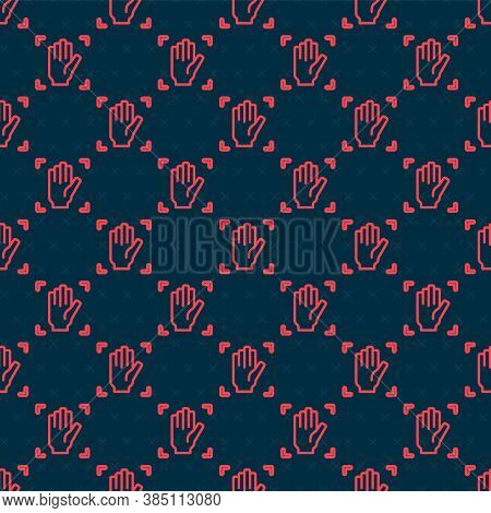 Red Line Palm Print Recognition Icon Isolated Seamless Pattern On Black Background. Biometric Hand S