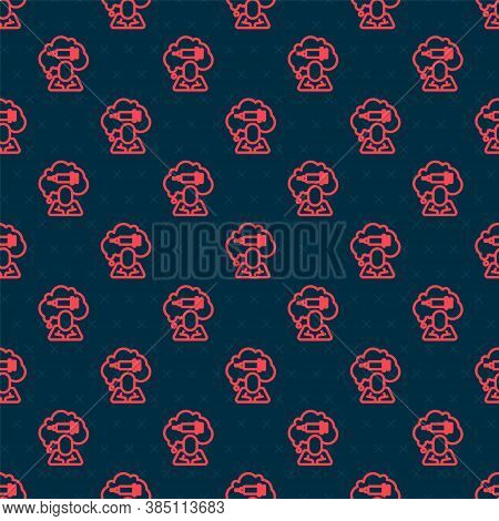 Red Line Addiction To The Drug Icon Isolated Seamless Pattern On Black Background. Heroin, Narcotic,