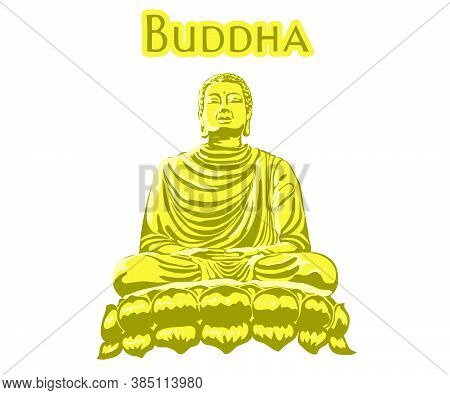 Monk Phra Buddha Sitting And Sleeping On Lotus Base For Pray Concentration Composed Release. Pastel