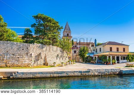 Fortress And Cathedral Tower In Old Town Of Osor Between Islands Cres And Losinj, Croatia, Seascape