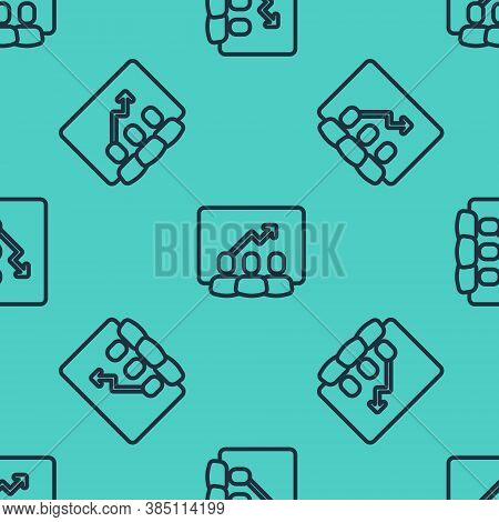 Black Line Project Team Base Icon Isolated Seamless Pattern On Green Background. Business Analysis A
