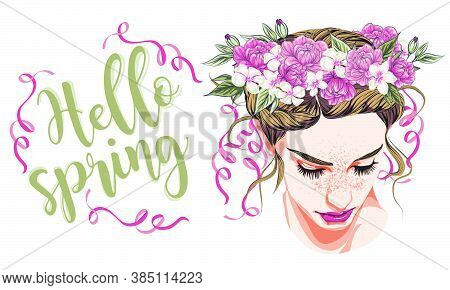 Spring Look Model. Beautiful Girl In A Wreath Of Peonies And Roses. Flower Wreath. Vector Illustrati