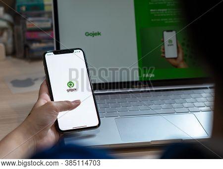 Bangkok, Thailand - September 7, 2020: Gojek App On Mobile Phone With Services Goride, Gosend, Gosho