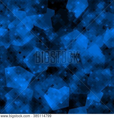 Military Camouflage Seamless Pattern. Naval Digital Pixel Style.