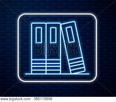 Glowing Neon Line Office Folders With Papers And Documents Icon Isolated On Brick Wall Background. O