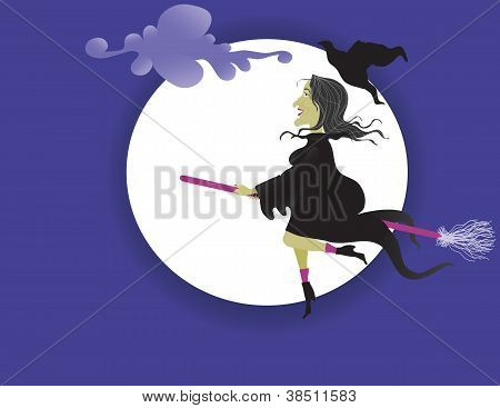 Whimsical Which flying past a full moon