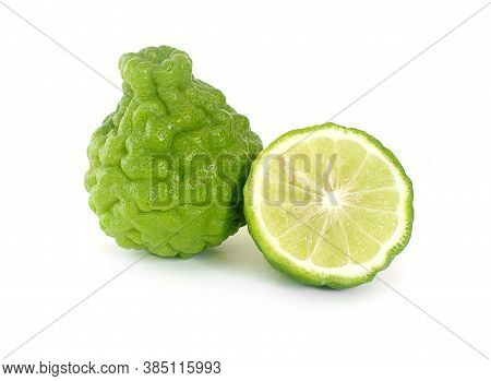 Bergamot Fruit With Cut In Half An Isolated On White Background.cilpping Path