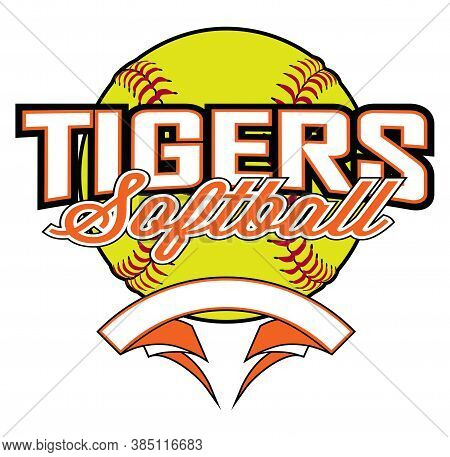 Tigers Softball Design With Banner And Ball Is A Team Design Template That Includes A Softball Graph
