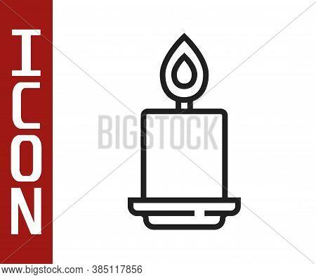 Black Line Burning Candle Icon Isolated On White Background. Cylindrical Aromatic Candle Stick With