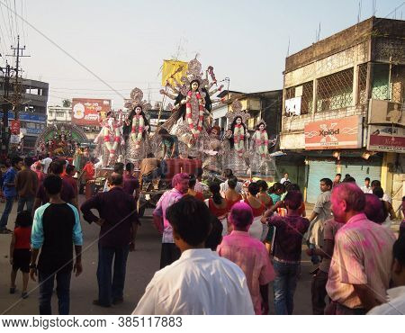 Silchar, Assam, India - 4th October, 2014 - A Celebratory Procession Marking The End Of The Durga Pu