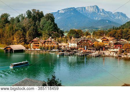 Schönau Am Königssee, Germany - September 9, 2018: Electric Tourist Boats On Beautiful Lake Konigsse