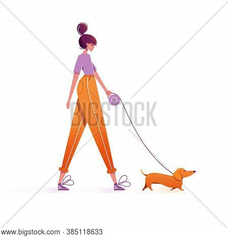 Woman Walking With Dog. Cute Girl Character Walking With Dachshund On Leash Outdoor. Leisure Time Sp