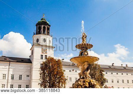 Salzburg, Austria - September 8, 2018: Residenzbrunnen Fountain At Residenz Palace On Residenzplatz