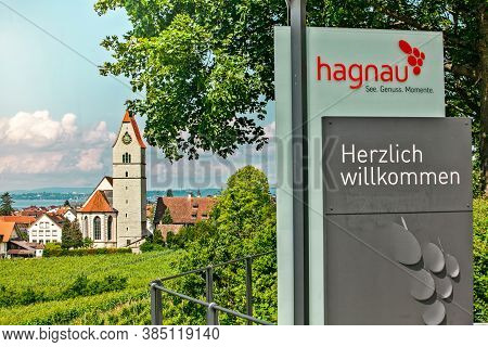 Hagnau, Germany - June 23, 2019: Panoramic View Of Lake Of Lake Constance And The Catholic Church St