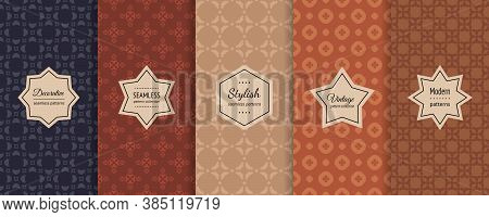 Vector Seamless Patterns Collection. Retro Geometric Backgrounds With Elegant Stickers. Set Of Abstr