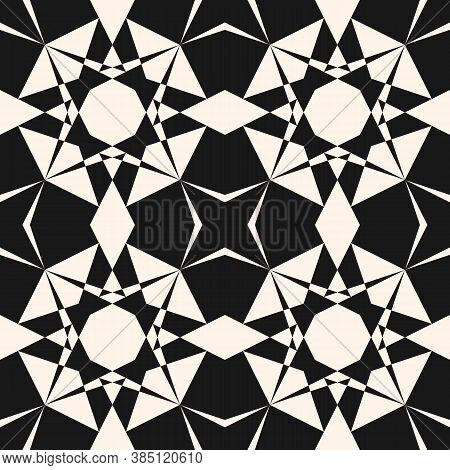 Vector Ornamental Geometric Seamless Pattern. Elegant Black And White Geometrical Texture. Simple Mo