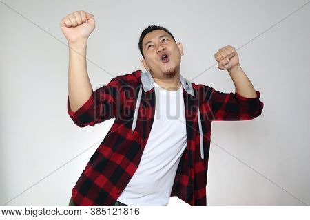 Funny Young Asian Man Dancing Happily Joyful Expressing Celebrating Good News Victory Winning Succes