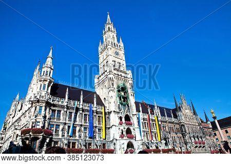 Munich, Germany - March 5, 2018: Town Hall On Marienplatz Square In Munich, Germany
