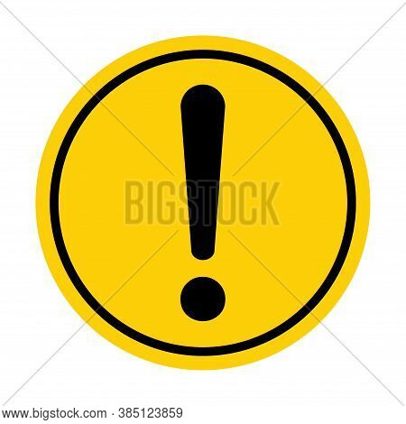 Hazard Warning, Warn Symbol Vector Icon Flat Sign Symbol With Exclamation Mark Isolated On White Bac