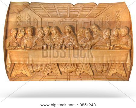 Wooden Last Dinner Religion Bas-Relief Isolated Over White Background