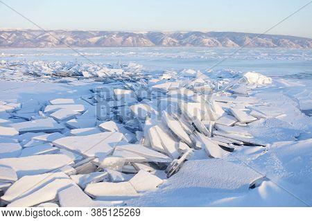 Lake Baikal Ice Near Olkhon Island. Winter Landscape