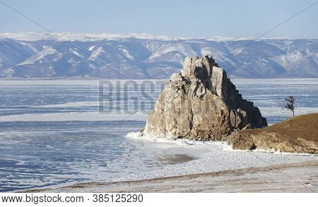Rock Shamanka. Cape Burhan Landscape. Lake Baikal, Winter