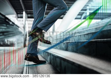 Motion Image. Business Growth, Motivation And Leadership Concept. Low Section Of Businessman Walking
