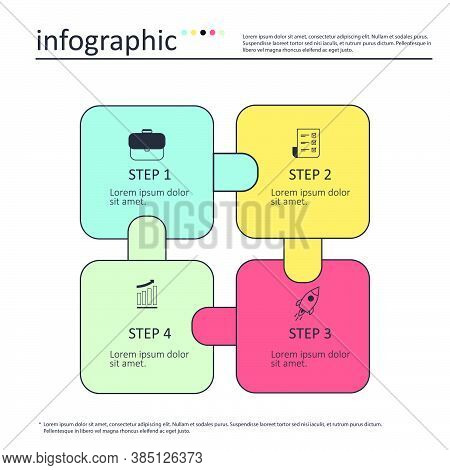 Infographics Template Four Colorful Options With Square. Can Be Used For Workflow Layout, Diagram, N