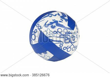Image Of Blue Leather Volley Ball On Isolated Background