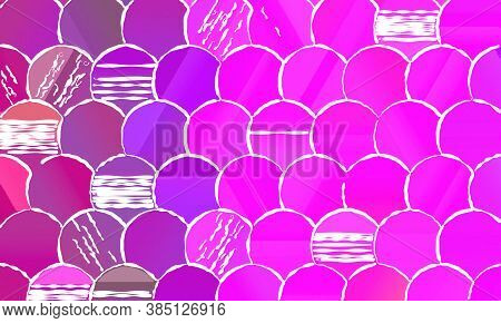 Fuchsia Color Circles With White Lines Background, Digitally Created.