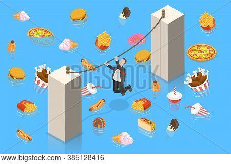Unhealthy Nutrition Eating Risks, Fast Food Harmful Effects, Junk Food Danger.