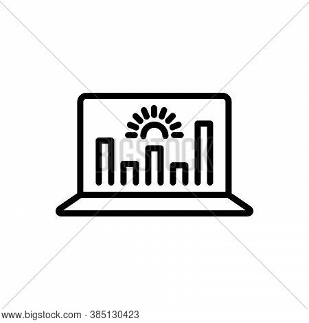 Black Line Icon For Representation Analytics Data Graphs Monitoring Performance Presentation Demonst