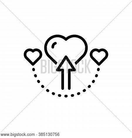 Black Line Icon For Direct Forward Arrow Straight Love Manifest Heart