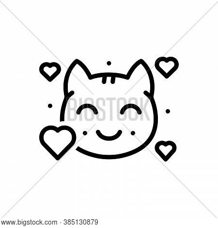 Black Line Icon For Lovely Beautiful Graceful Kitty Cat Animal Nice Sweet Cute Kitten Domestic Adora