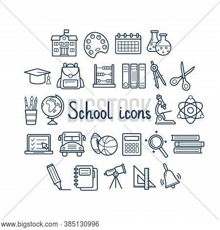 Set Of School Icons On White Background, Vector Illustration