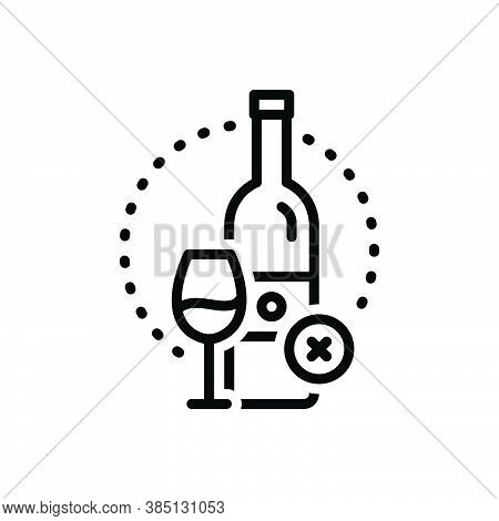 Black Line Icon For Essentially Fundamentally Basically Prohibited  Wine Bottle Glass Alcohal Liquor