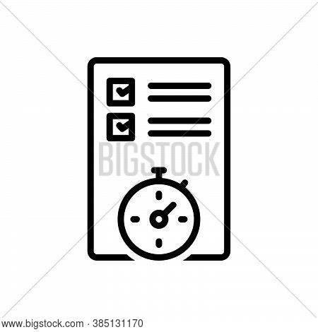 Black Line Icon For Planning Organized Arrangement Setting Scheduling Preparation Project Sheme