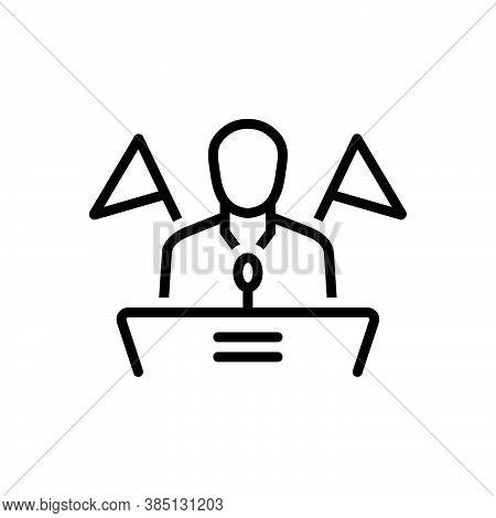 Black Line Icon For Republican Democrat Leader President Orator Speaker Government Political Politic
