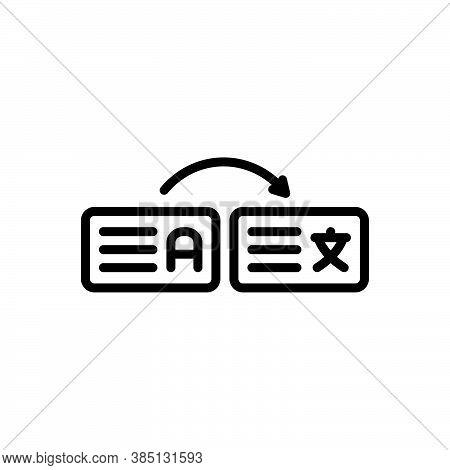 Black Line Icon For Interpret Explain Decode Exhort Illustrate Expound Translate Dictionary Language