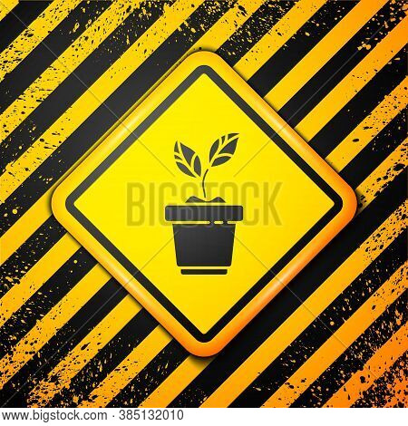 Black Plant In Pot Icon Isolated On Yellow Background. Plant Growing In A Pot. Potted Plant Sign. Wa