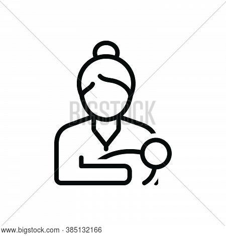 Black Line Icon For Mom Mummy  Female Parent Mother Mommy Breast-feeding Baby Newborn