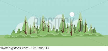 Summer Forest Landscape Vector Flat Illustration. Green Forest With Glade And Bushes. Summer Nature