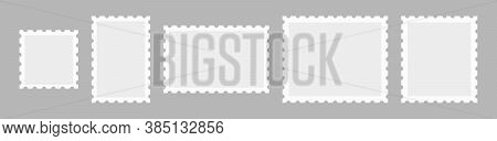 Set Postage Stamps Template. Blank Frame Of Postal Stamp For Mail Envelope.
